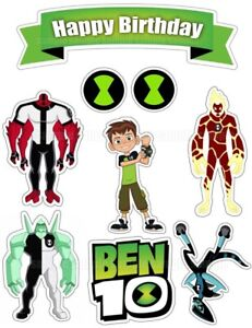 Ben 10 Edible Cake Topper Wafer Icing Birthday Party Deco Muffin Anime Manga