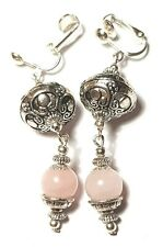 Long Silver Rose Quartz Clip-On Earrings Drop Dangle Glass Beads Tibetan Style