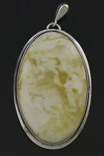 Royal WHITE Genuine BALTIC AMBER Silver Cabochon Pendant 17.2g 191016-5