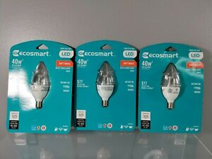 NEW SEALED LOT OF 3 ECOSMART 40W SOFT WHITE DIMMABLE CLEAR LED LIGHT BULB 2700K