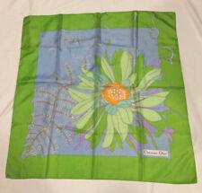 "CHRISTIAN DIOR 100% silk grn/blues floral print scarf~30""x 30""~hand rolled edge~"