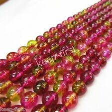 "Natural Genuine 8mm Watermelon Tourmaline Round Gemstone Loose Beads 15""AAA+"