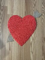 """Vintage Valentine Decorations Melted Plastic Popcorn 17"""" Red Heart Silver Arrow"""
