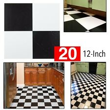 Vinyl Flooring Black and White Tiles Kitchen Floor Thick Peel 'N' Stick