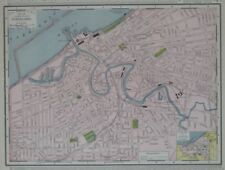 Original 1909 Streetcar Map CLEVELAND Ohio Railroads Central Viaduct Lake Erie