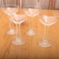 4 Clear Glass Tall Stem Short Bowl Glasses Footed Drinking Wine Water
