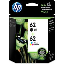 Genuine HP 62 Black and 62 Tri-color Printer Ink Cartridges N9H64FN Exp 2019