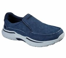 Navy Canvas Skechers Relaxed Fit Shoes Men's Memory Foam Slip on Loafer 204006