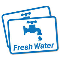 2 x Fresh Water Sticker Decal Safety Sign Car Vinyl #6509EN