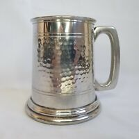 Vintage English Pewter 1/2pt Tankard Glass Bottom Stein Sheffield :A8