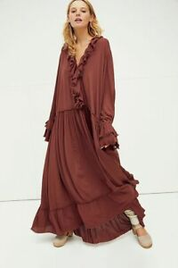 FREE PEOPLE BURGUNDY SWEET DARLIN MAXI DRESS (SIZE XS/S/M) RRP £158