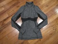 LULULEMON run full tilt half zip pullover in heathered black size 2 reflective