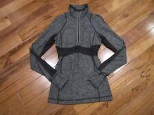 LULULEMON run full tilt half zip pullover in heathered black size 2 reflective