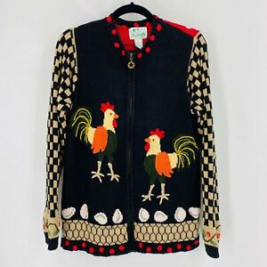 Quacker Factory Womens Size Small Chicken Rooster Zip Novelty Sweater Cardigan
