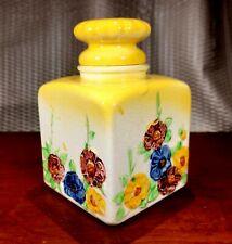 Vintage Porcelain Perfume Bottle with Top Yellow Hollyhocks Japan