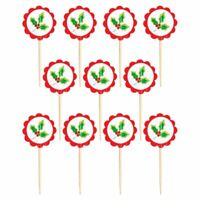 36 CHRISTMAS HOLLY PICKS TOPPERS FOOD CUPCAKE PARTY TABLE DECORATION