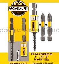 """NEW DEWALT Max Fit MAGNETIC Screw Lock & *3-PACK* 2"""" Phillips #2 Bits 18v 20v XR"""