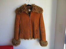 Gianfranco Ferre Curly Lamb Shearling Leather Fur Jacket Size XS Made in Italy