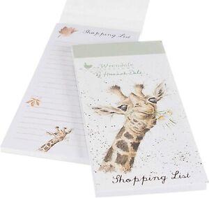 Wrendale Designs Illustrated Flowers Giraffe Magnetic Shopping List Pad 21x10cm