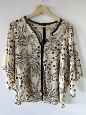 ZARA Beautiful Cream Japanese Blossom Print Blouse Size L