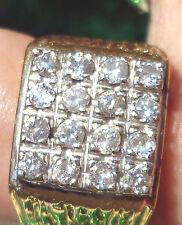 SENSATIONAL  LARGE 16 DIAMOND RING 18 CT SOLID GOLD  GENTS -LADIES