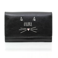 PERSONALISED CAT LOVERS LADIES LEATHER CLUTCH BLACK PURSE WALLET BIRTHDAY GIFT