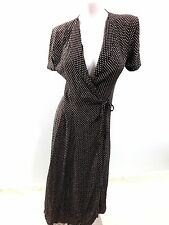 NEXT WOMENS BROWN POLKA DOT VISCOSE WRAP DRESS SIZE 8