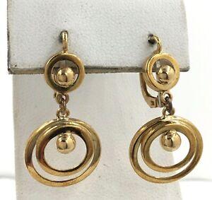 18k Yellow Gold Vintage Ball Disc Circle Drop Pierced Earrings
