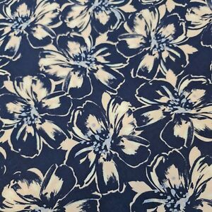 """Soft Non Stretch Viscose Fabric Floral Blue Material Dress Craft 58"""" Meter"""
