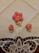 Rare Nolan Miller Coral & Rhinestone Flower Brooch & Earring Set