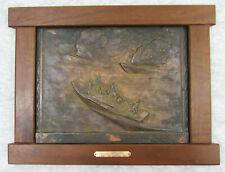 "PT-109 Night Attack Framed Bronze Plaque by LR Kirchner, 15"" X 11"""