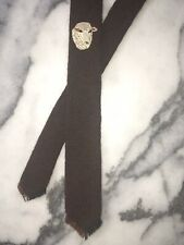 Vintage Tewa Weavers Necktie Hand Loomed Skinny Tie Wool Sheep Brown Black