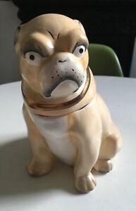 ANTIQUE VICTORIAN PUG DOG TOBACCO JAR / COOKIE JAR