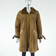 Brown Shearling Fur Coat - Size XL - Pre-Owned