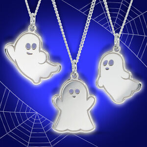 Halloween 925 Sterling Silver Cute Ghost Pendant Necklace 18curb Chain Jewellery