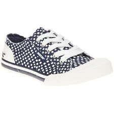 New Womens Rocket Dog Blue Jazzin Spot Canvas Trainers Lace Up