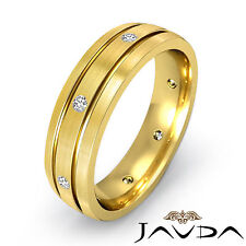 Diamond Men Eternity Solid Ring 18k Yellow Gold Wedding Dome Brushed Band 0.2Ct