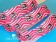"5 yards 7/8"" Skull Pink Zebra Printed Grosgrain Ribbon"