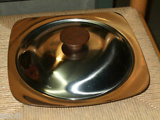 Dolphin Stainless Steel Covered Divided Serving Dish w/ Teak Knob - Vintage MCM