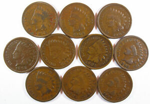 Lot of 10 different Indian Head Cents 89 92 93 98 99 01 02 04 06 07 Starter Set