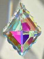 "76mm Crystal Clear AB Prism SunCatcher Diamond Shaped Ruffle Huge 3"" New 2019"