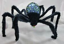 Halloween Hairy Spider Green LED Light Up Strobe & Flash Effect Figurine New