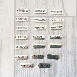 40 x Inspirational Word Tag Charms Antique Silver Tone Joblot Bulk Wholesale