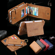 Luxury Retro Zipper Leather Wallet Card Purse Removable Stand Case Pouch Sleeve
