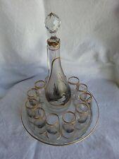 Superbe service liqueur ancien verre ou cristal décor Paysages peints à la main