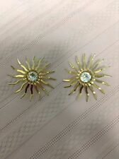 "Sarah Coventry Vintage Gold Tone Rhinestone Clip Earrings 1 7/8"" Mint Condition"