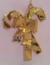 "Danbury Mint - 2002 Gold Christmas Ornament - ""Festive Candy Canes"""
