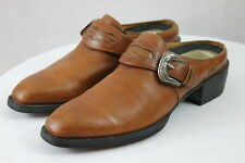 Women's Ariat Leather Brown Western Cowgirl Clogs Mules Slides Heels # 16728 6B