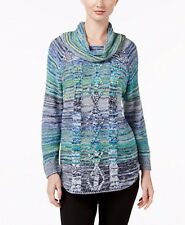 John Paul Richard JPR Womens XL Sweater Blue Multi Cowl Long Sleeve Green Marled