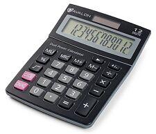 Avalon 12 Digit Dual Powered Desktop Calculator, Tilted LCD Display, Black New